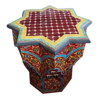 Maura Carved & Painted Mosaic Inlaid Moroccan Star Table