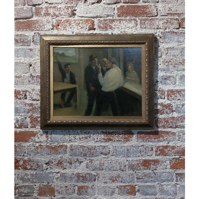 C.H Kelly - Tavern Scene -California Regionalist -Oil painting c.1930s For Sale - Image 10 of 10