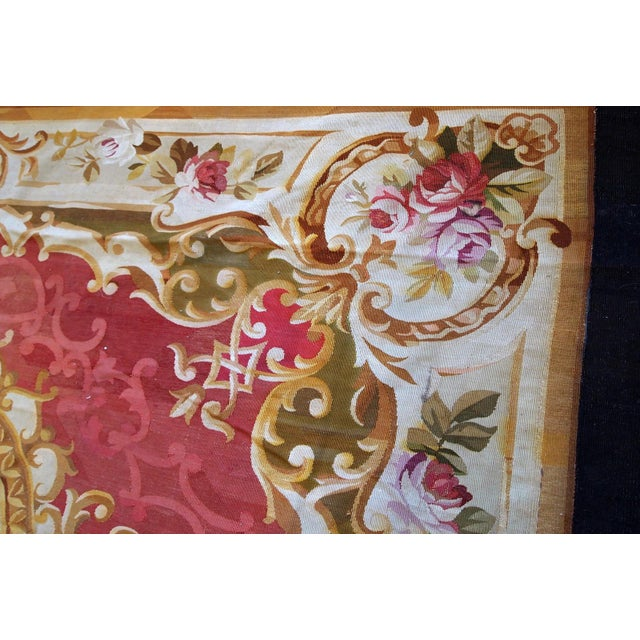 Textile 1860s, Handmade Antique French Abussan Flat-Weave For Sale - Image 7 of 12