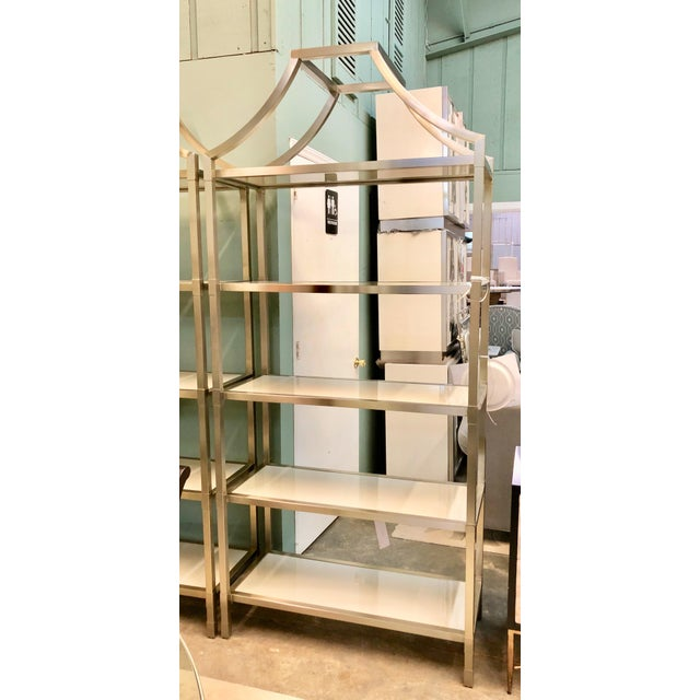 A Secret Warehouse Contemporary Bastein White and Silver Five Shelf Etagere For Sale - Image 4 of 4