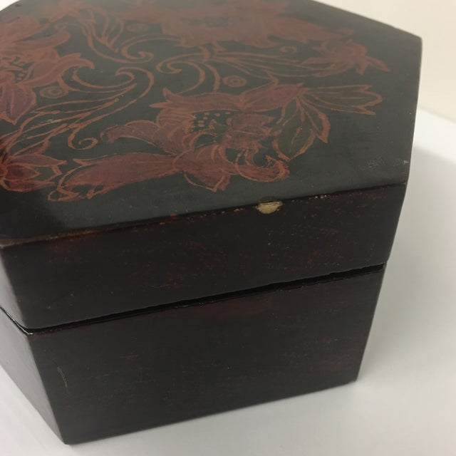 Vintage Black Lacquer Hexagon Box For Sale - Image 4 of 11