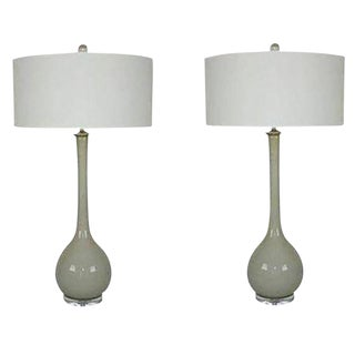 Vintage Murano Glass Long Neck Table Lamps Gray For Sale