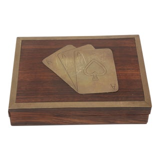 Mid-Century Modern Brass Playing Card Box with Cards