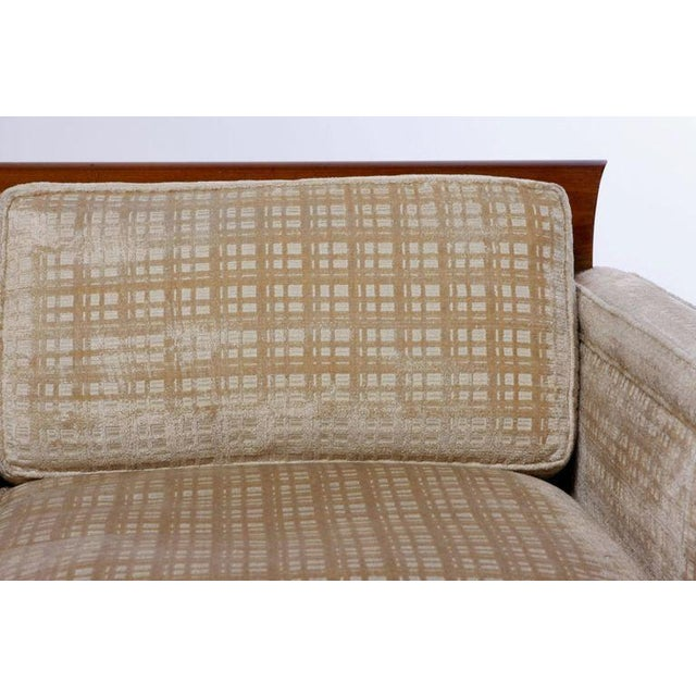 Baker Furniture Company Baker Furniture Walnut & Down-Filled Velvet Sofa. For Sale - Image 4 of 6