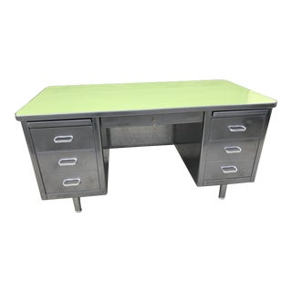 Restored Vintage Steelcase Avocado Green Steel Desk