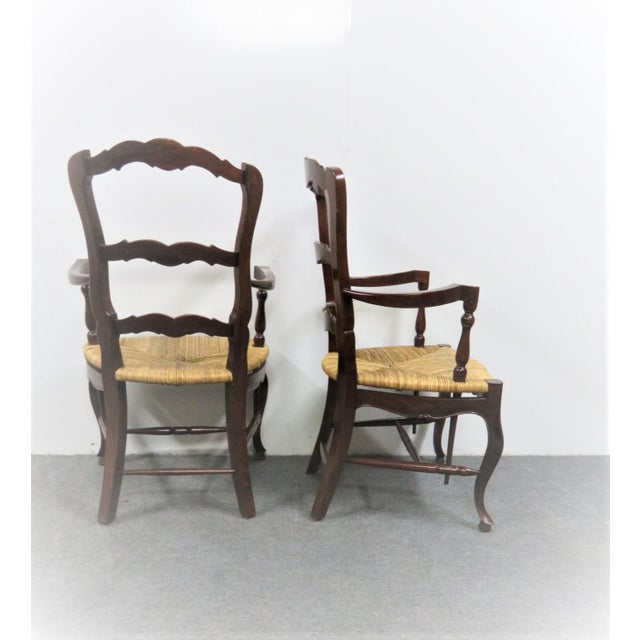 County French Mahogany Rush Seat Arm Chairs- a Pair For Sale - Image 4 of 6