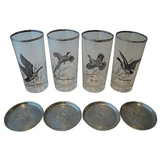 Metallic Silver Rim Highball Glasses & Coasters - Set of 8
