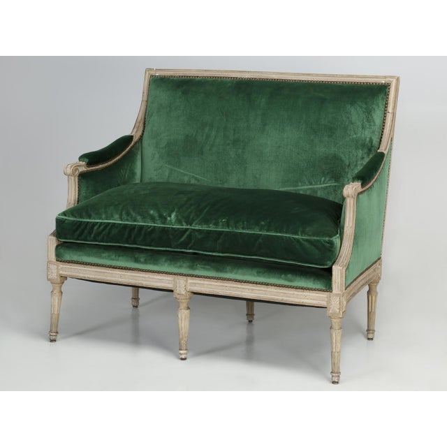 Original Paint French Louis XVI Style Settee For Sale - Image 11 of 11