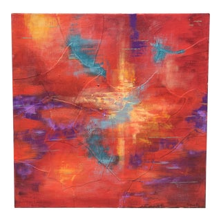 Abstract in Coral and Scarlet by Dorothy Stonely For Sale