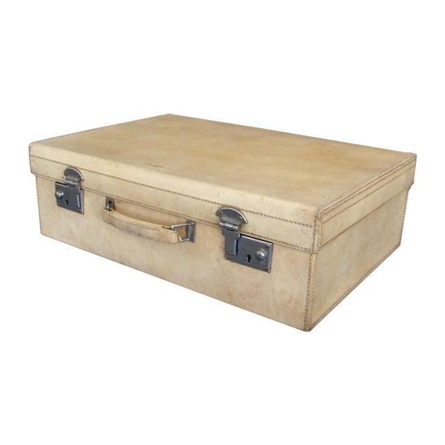 Antique 1920 Cream Vellum Suitcase For Sale