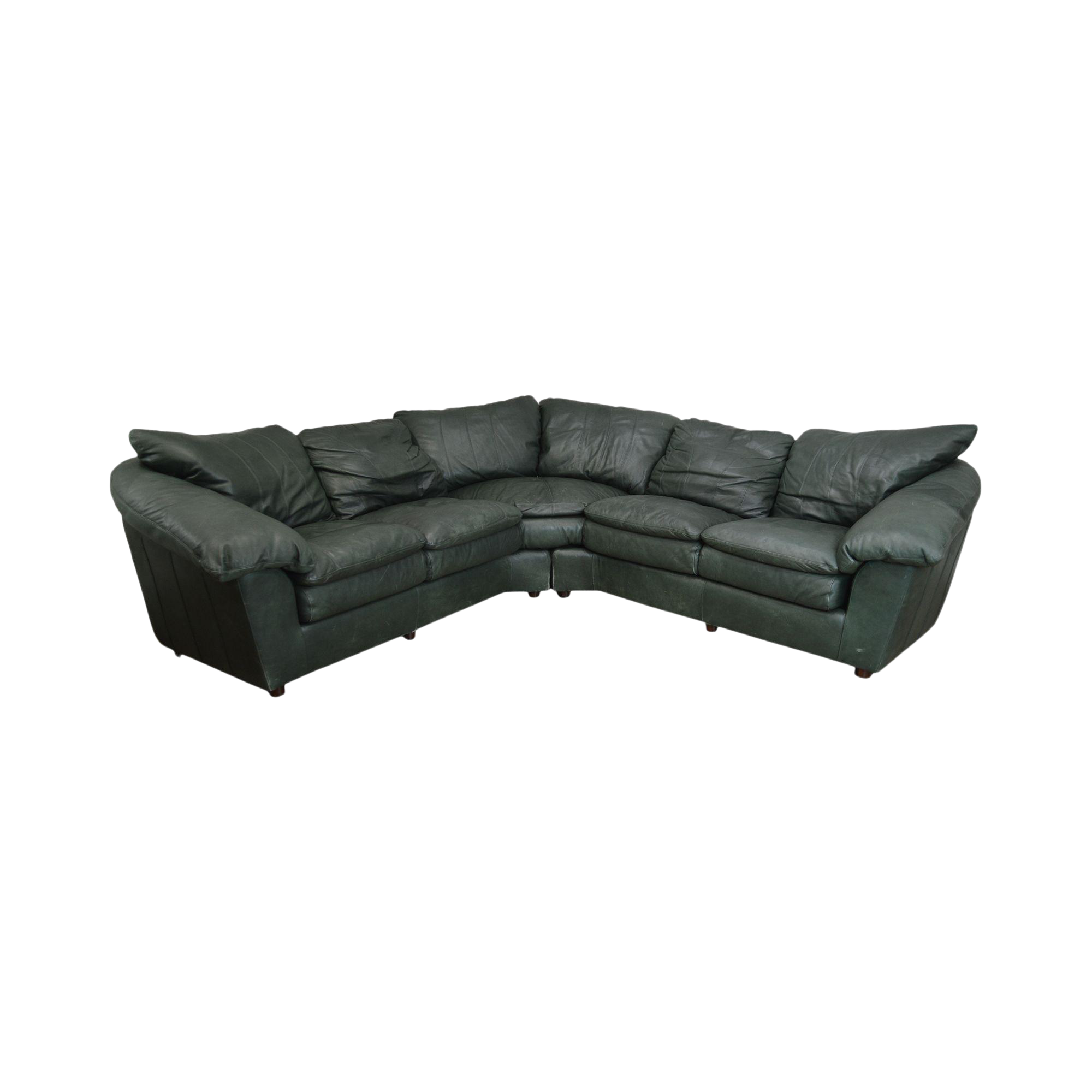 - Hancock & Moore Green Leather Sectional Sofa Chairish