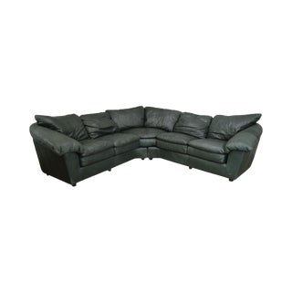 Hancock & Moore Green Leather Sectional Sofa For Sale