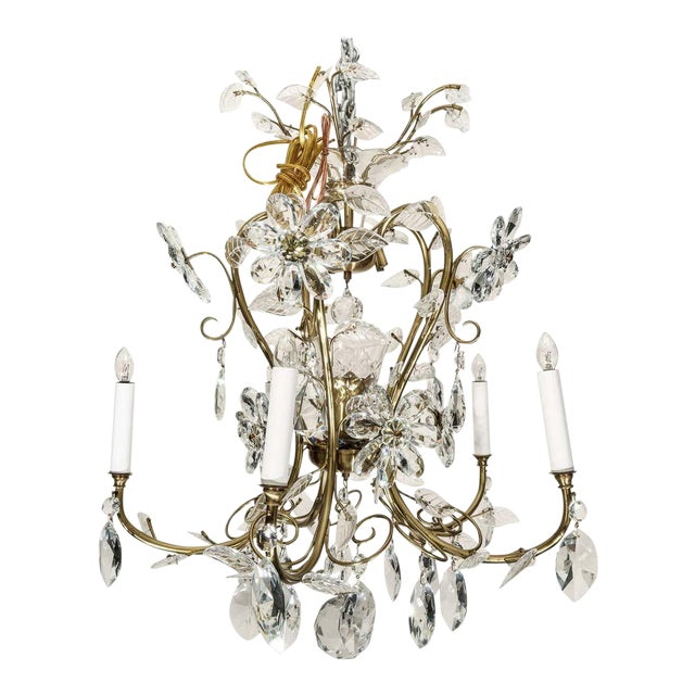 Louis XV Style Crystal and Brass Chandelier For Sale
