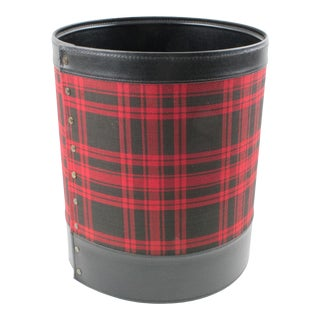 Jacques Adnet 1950s Desk Accessory Office Paper WasteBasket Leather and Plaid For Sale