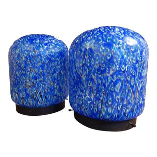 Gae Aulenti for Vistosi Murano Blue Murrine Table Lamps - A Pair For Sale