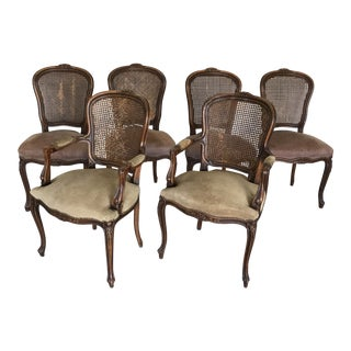 1960s Vintage Werner New York Caned Dining Chairs- Set of 6 For Sale