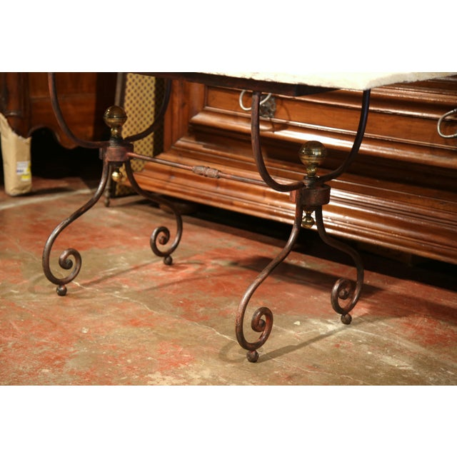 19th Century French Iron Bistrot Table With Stone Top and Bronze Mounts For Sale In Dallas - Image 6 of 8