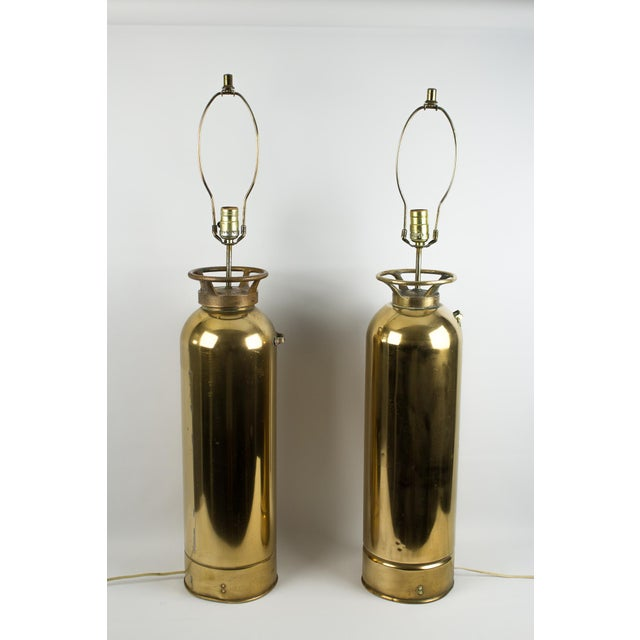 Brass Fire Extinguisher Lamps - a Pair For Sale - Image 13 of 13