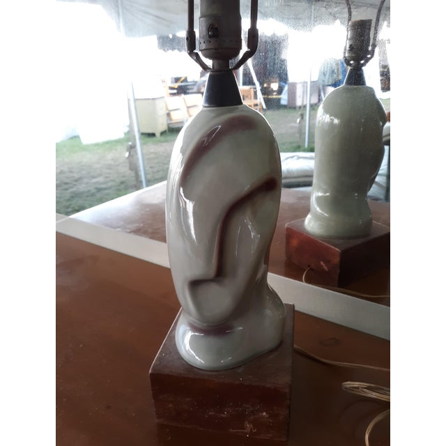 Gray 1930s Heifetz Ceramic Lamp, Art Deco, Cubist Style For Sale - Image 8 of 8