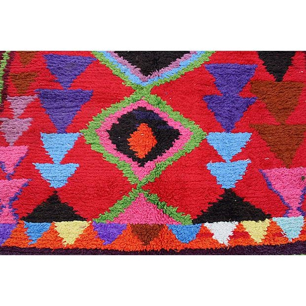 Hand-knotted Moroccan low-cut organic wool pile with an ornate pattern of Berber diamonds and lozenge motif in an...
