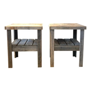 20th Century Pair of Primitive Wood Side Tables For Sale