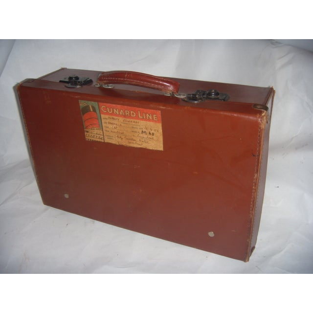 Vintage English Brown Leather Suitcase - Image 2 of 11