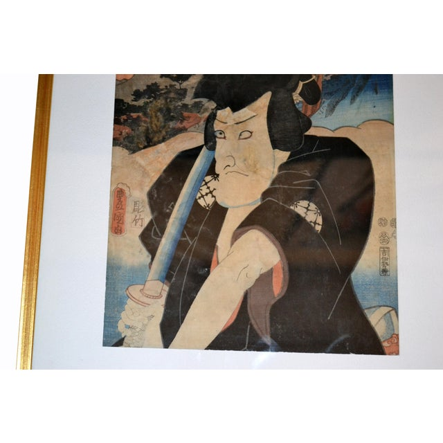 Utagawa Toyokuni III Japanese Gilt Framed Woodblock Print Parchment Paper C. 1857 For Sale - Image 4 of 13