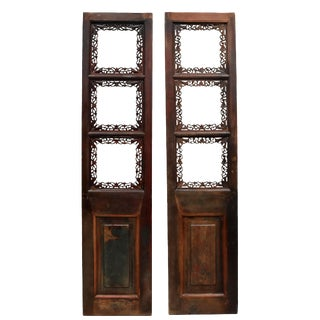 Antique Chinese, Carved, Gourds and Butterflies Screens - a Pair For Sale