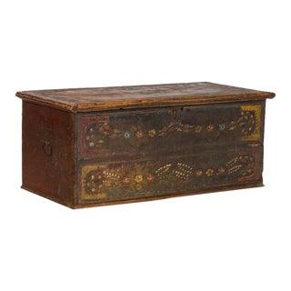 19th Century Antique Original Painted Trunk For Sale