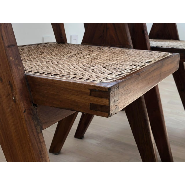 Pierre Jeanneret Caned Armchairs - a Pair For Sale - Image 11 of 11