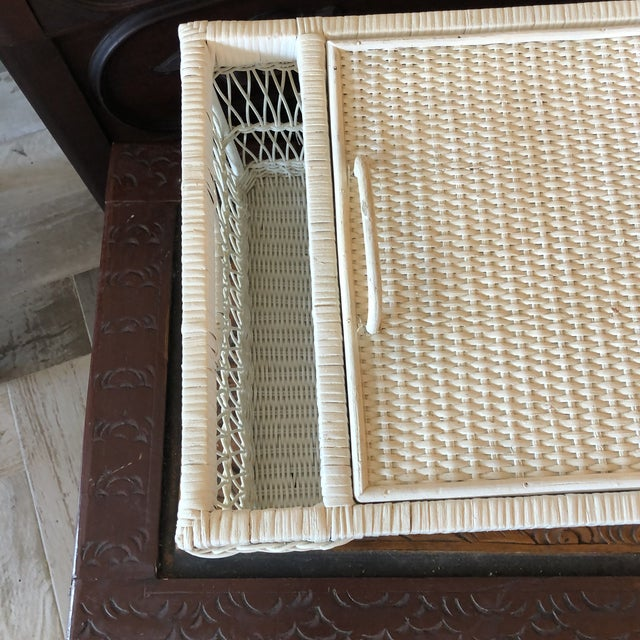 Vintage White Wicker Bed Tray For Sale - Image 4 of 12