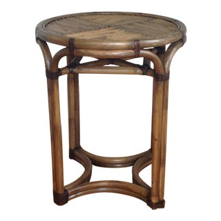 Bentwood & Rattan Side Table For Sale