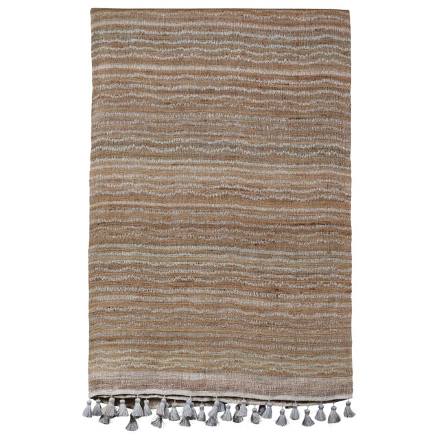 2010s Indian Handwoven Bedcover Small Ocean Stripe For Sale - Image 5 of 5