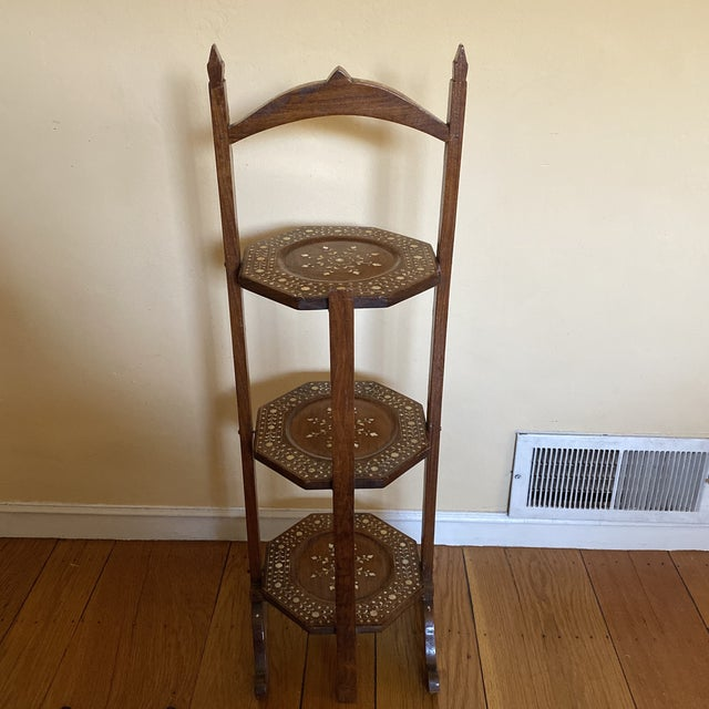 Anglo Indian Bone Inlaid Cake Stand For Sale In Pittsburgh - Image 6 of 13