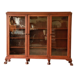 Vintage Chippendale Style Mahogany Triple Bookcase, Circa 1940s For Sale