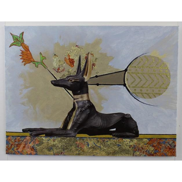 "Carl M. George ""Anubis"" Original Collage Painting - Image 2 of 4"
