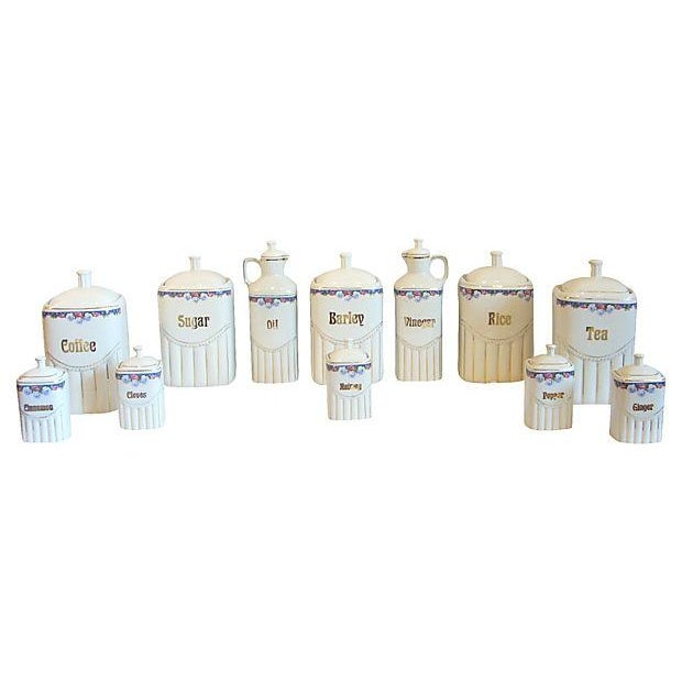 Vintage Porcelain Kitchen Canisters - Set of 12 - Image 2 of 8
