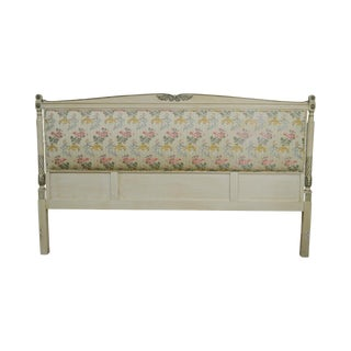French Louis XVI Style Custom Painted Upholstered King Headboard