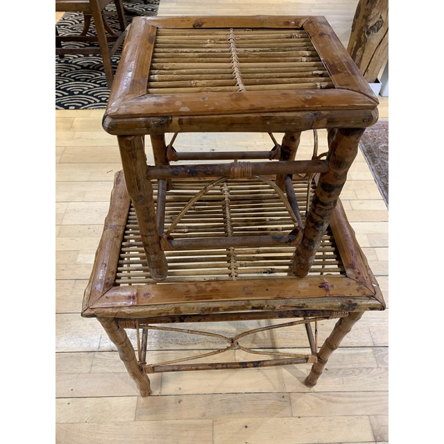 Asian Vintage Asian Bamboo Nesting Tables - Set of 2 For Sale - Image 3 of 9