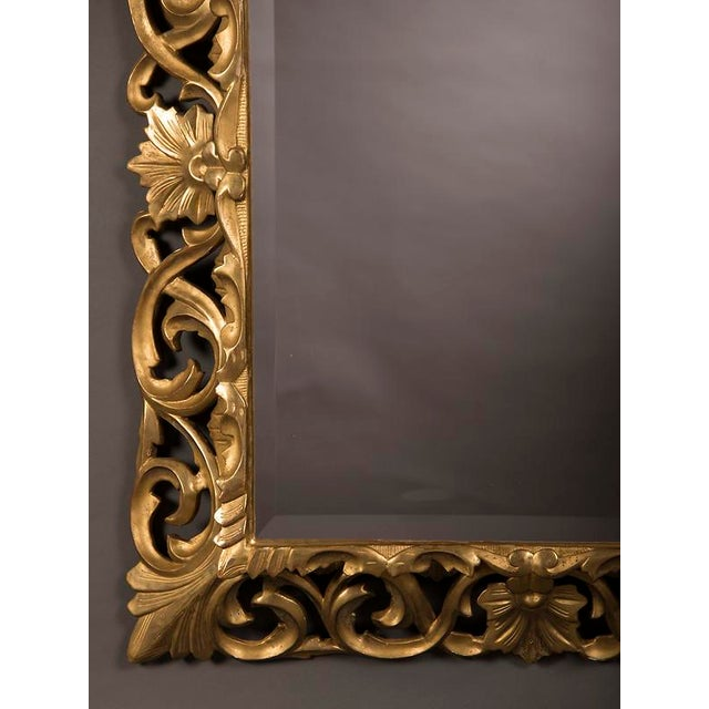 Glass 19th Century French Baroque Style Gold Leaf Framed Beveled Mirror For Sale - Image 7 of 8