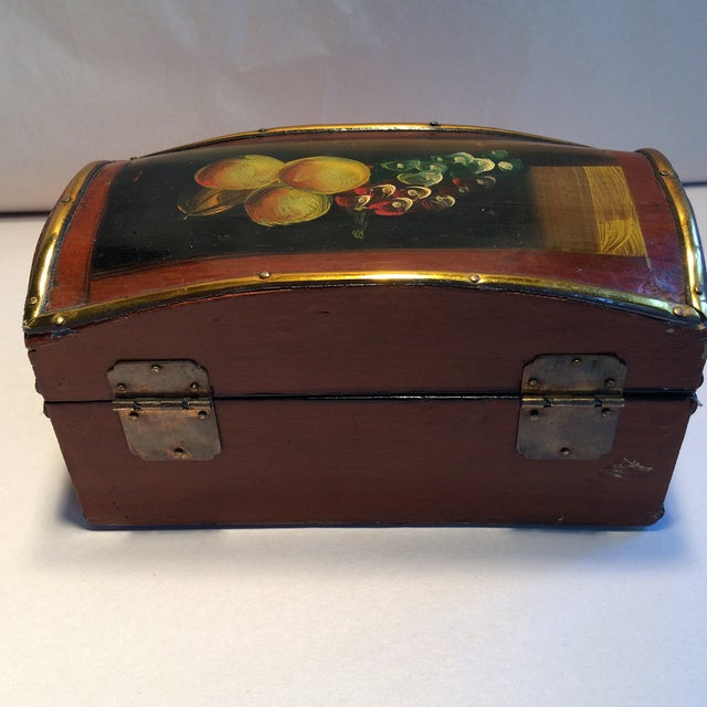 Vintage Hand Painted Fruit Motif Wooden Box For Sale - Image 5 of 11