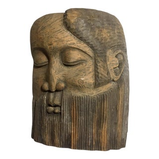 Pensive Man Wooden Relief Wall Hanging For Sale