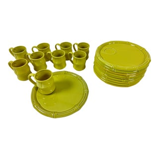 Mid-Century Chartreuse Colored Plates and Mugs - 18 Pc. Set For Sale