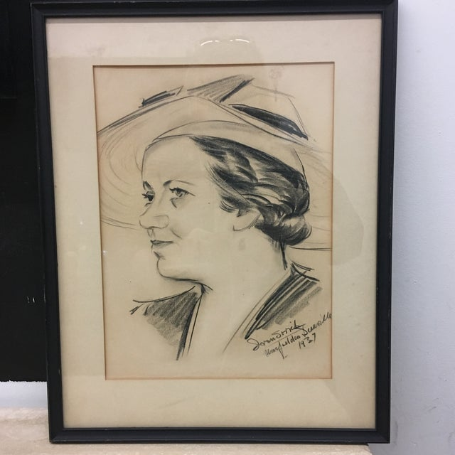 1930s Drawing - Vintage 1937 Framed Sketched Portrait For Sale - Image 5 of 6