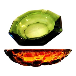 1970s Large Translucent Green and Jeweltone Amber Glass Game Table Ashtrays - a Pair For Sale