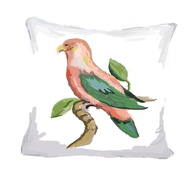 Boho Chic Dana Gibson Pink Parrot Linen Pillow For Sale