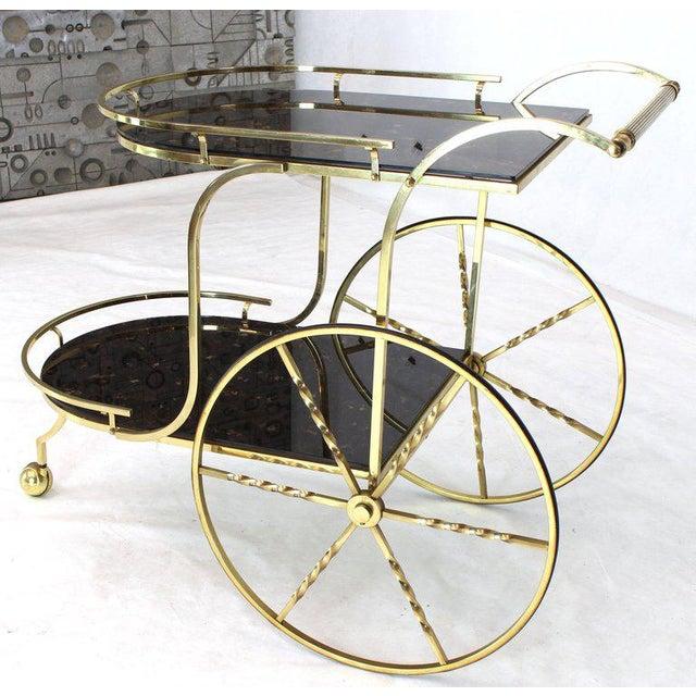 Black 1970s Mid-Century Modern Brass Tortoise Finish Glass Bar Serving Cart For Sale - Image 8 of 8