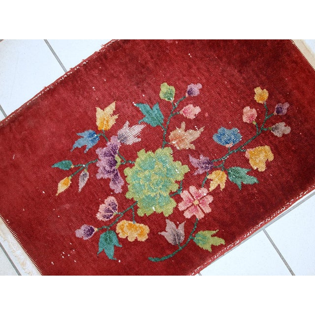 Red 1920s Hand Made Antique Art Deco Chinese Rug - 2′ × 2′10″ For Sale - Image 8 of 10