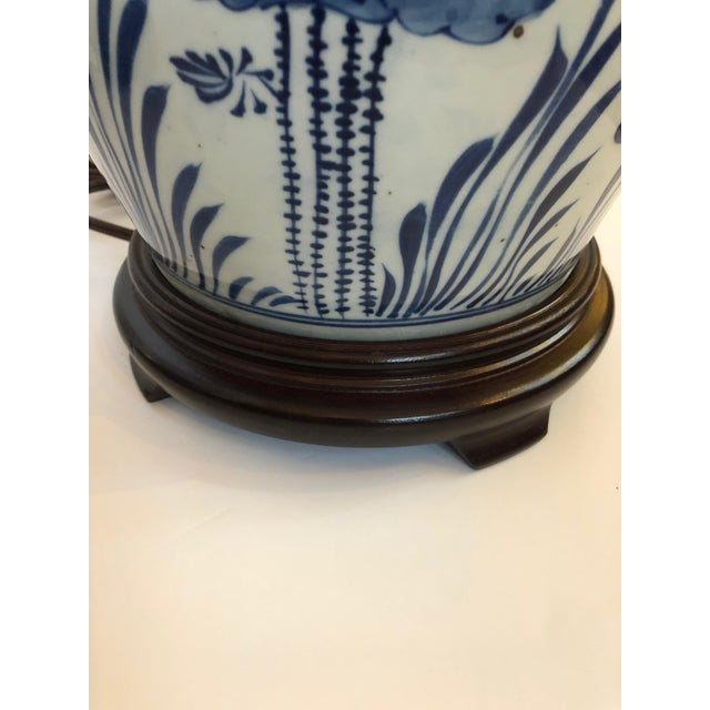 1950s Classic Blue and White Canton Style Ginger Jar Lamps With Carp-A Pair For Sale - Image 5 of 11
