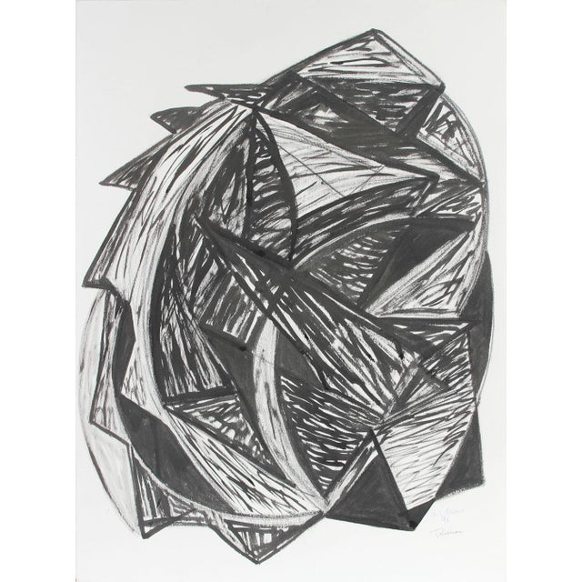 "Abstract Expressionism Georgette London Owens ""Talisman"", 1998, Expressionist Abstract in Ink and Charcoal 1998 For Sale - Image 3 of 3"